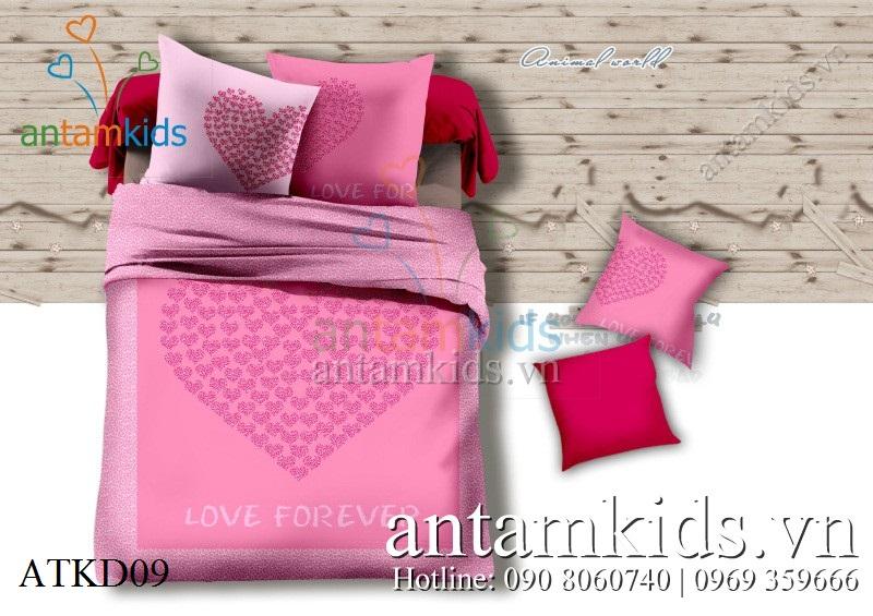 Bộ chăn ga gối Love Forever màu hồng ATKD09 Yêu mãi Mãi yêu