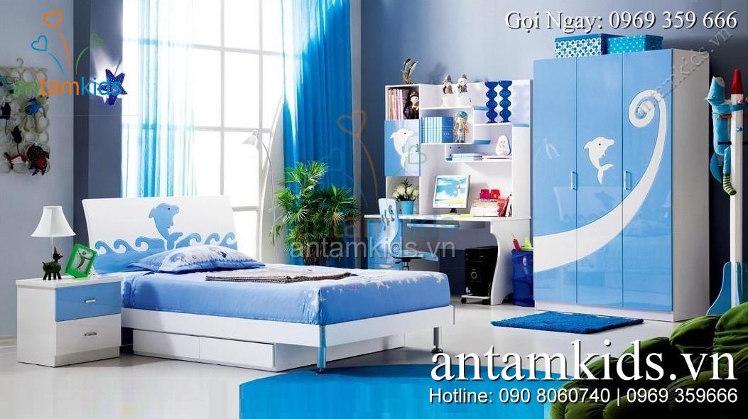 Phòng ngủ cho bé trai màu xanh cá heo cá tính tuyệt đẹp - AnTamKids.vn