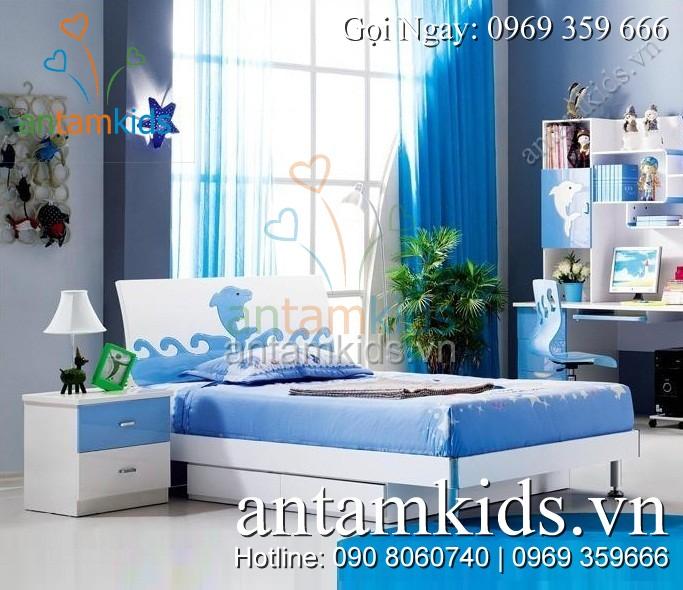 Phòng ngủ H602 với họa tiết trang trí hình cá heo thật ngộ nghĩnh – AnTamKids.vn