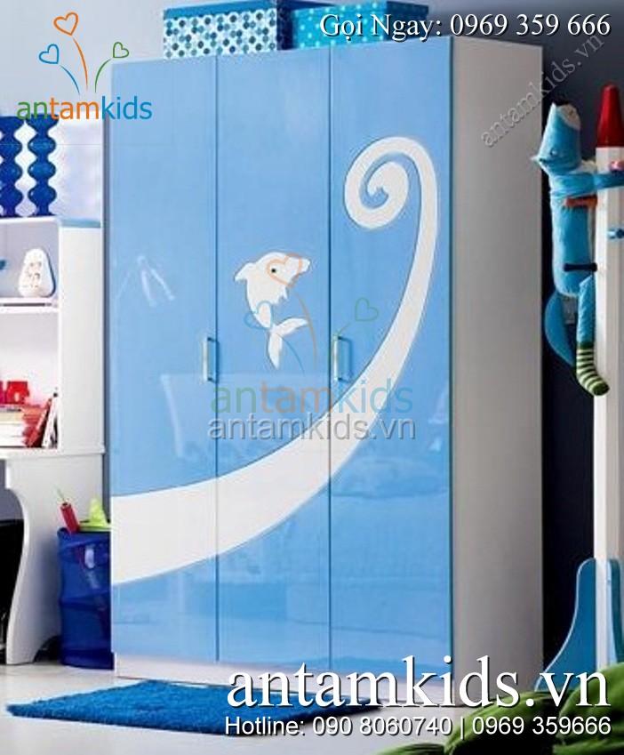 Tủ quần áo trẻ em trong bộ Phòng ngủ cho bé trai H602 màu xanh dương xinh xắn đáng yêu – AnTamKids.vn