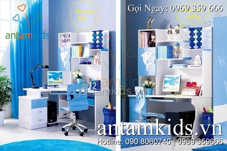 Bộ bàn học trẻ em H602 được thiết kế tiện lợi tùy theo không gian phòng của bé bạn có thể lựa chọn Bàn học góc hay bàn học thẳng cho phù hợp – AnTamKids.vn