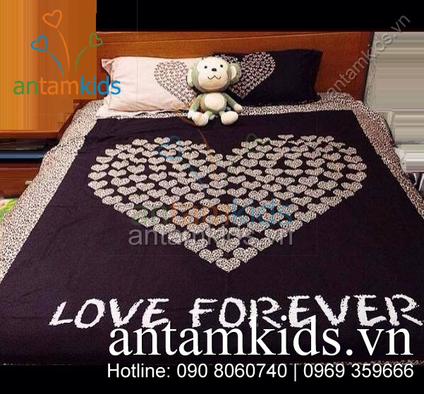 Bộ chăn ga Trái tim Love Forever ATK328
