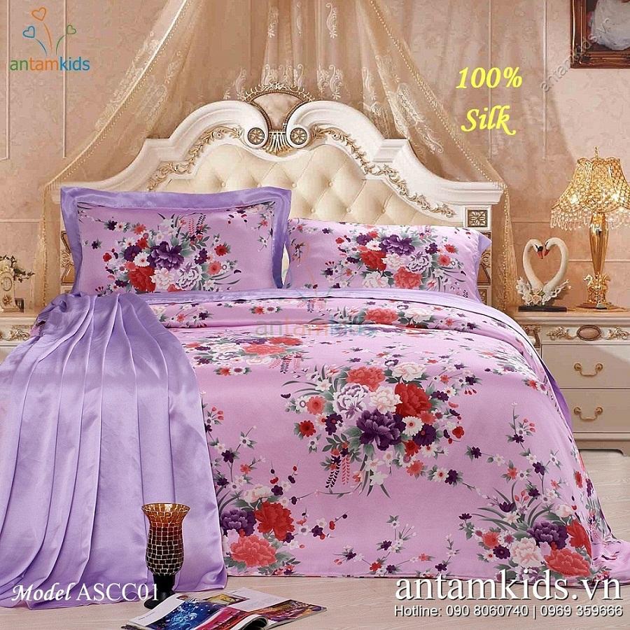 Chăn drap cao cấp Sweet Honey ASCC01 hoa tím lãng mạn kiêu sa