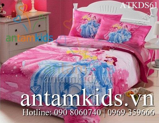 Bộ chăn ga gối 4 nàng Công chúa Disney xinh tươi cho bé gái ATKDS61