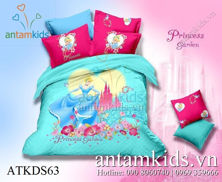Bộ chăn ga gối Công chúa Princess Garden xanh cho bé gái cực yêu