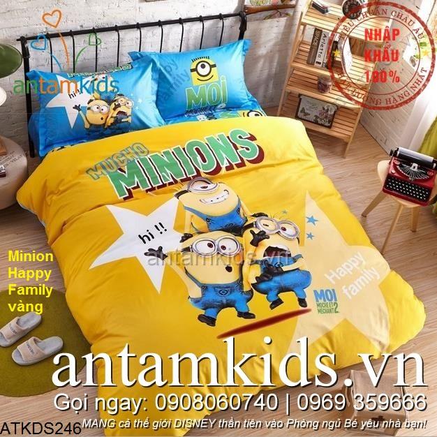 Chăn ga gối đệm hình Minion Happy vàng siêu dễ thương cho trẻ em