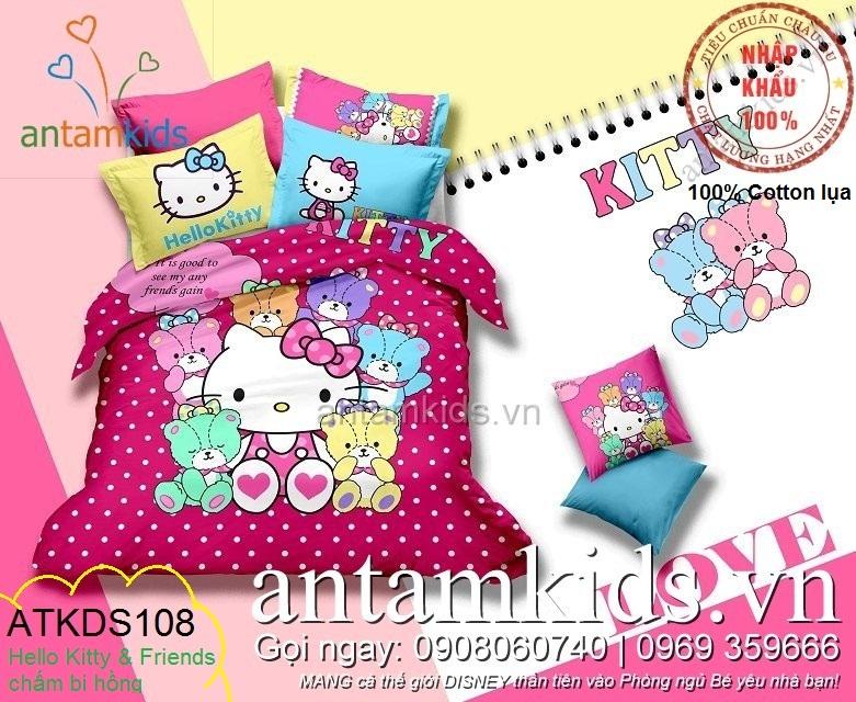 Chăn ga gối đệm Hello Kitty cao cấp chấm bi siêu dễ thương cho bé gái