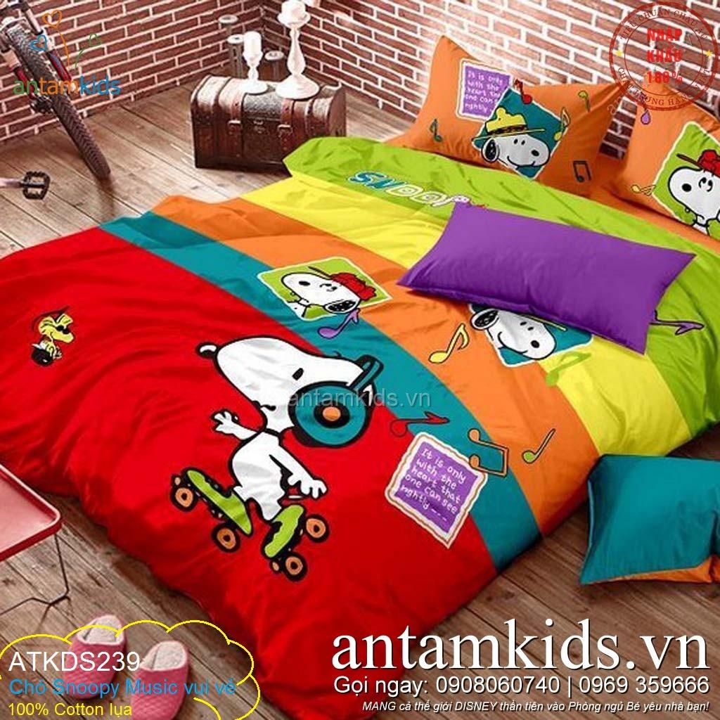 Chăn ga gối Cho bé hình Chó Snoopy Music vui vẻ ATKDS239