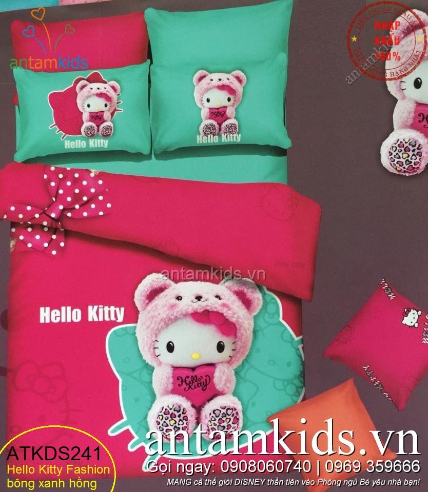 Chăn ga gối Hello Kitty xanh hồng nhập khẩu siêu dễ thương cho bé