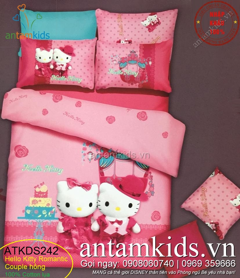 Chăn ga gối in hình Hello Kitty màu hồng vô cùng đáng yêu cho bé gái