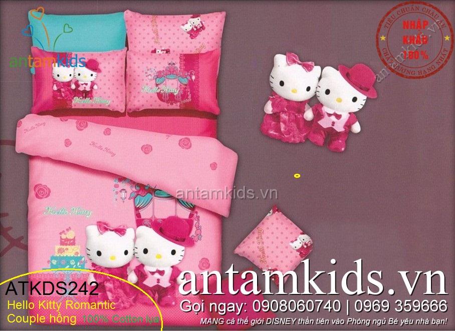 Bộ Chăn ga gối in hình Hello Kitty màu hồng vô cùng đáng yêu cho bé gái