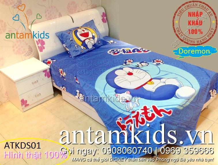 Bộ Chăn ga gối đệm drap trải giường hình Doremon trẻ em, đẹp hơn Sông Hồng
