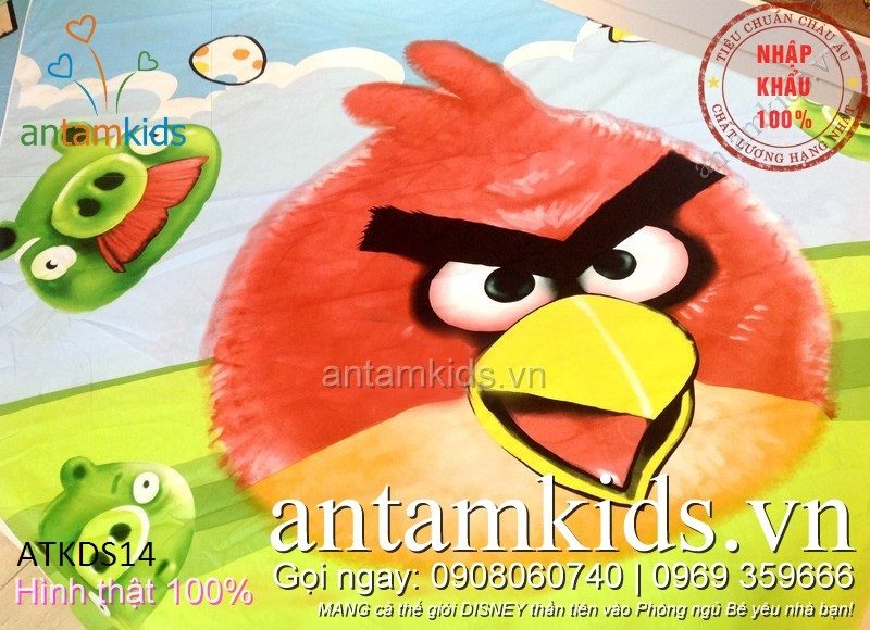 Bộ chăn ga gối cho bé trai bé gái hình Angry Birds ngộ nghĩnh - antamkidsvn