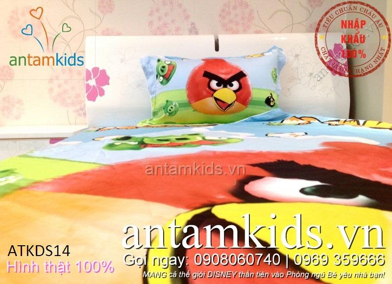 Bộ Drap mền gối cho bé trai bé gái hình Angry Birds ngộ nghĩnh - antamkidsvn