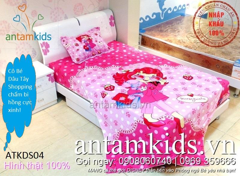 Bộ chăn ga Cô bé Dâu tây Shopping chấm bi hồng cá tính sành điệu cho bé gái ATKDS04