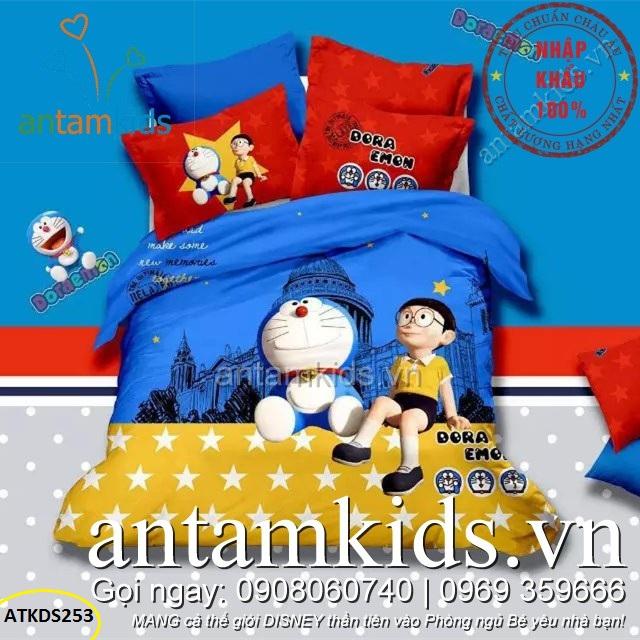 Chăn ga gối Doremon Nobita cưỡi Sao đáng yêu ATKDS253
