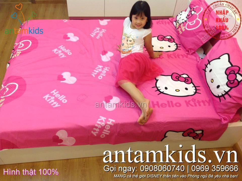 Bộ chăn ga gối Hello Kitty hồng siêu dễ thương cho bé gái, drap mền Hello Kitty