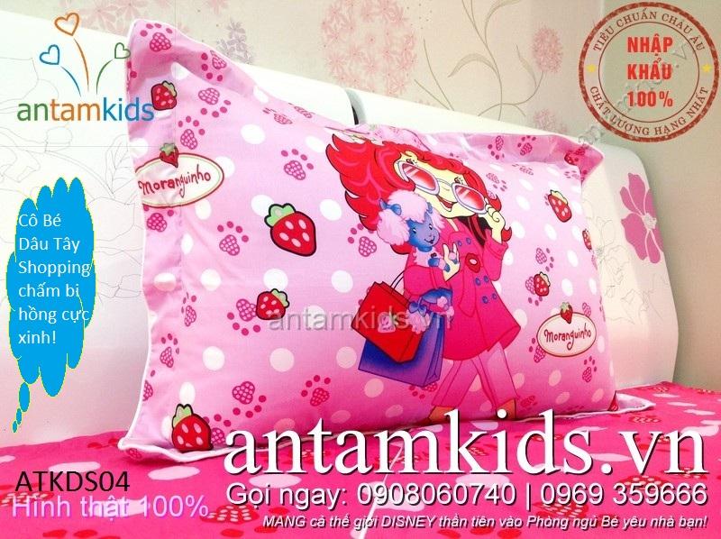Bộ chăn ga gối 1m2, giường tầng Công chúa hồng xinh cho bé gái cotton cao cấp tuyệt đẹp