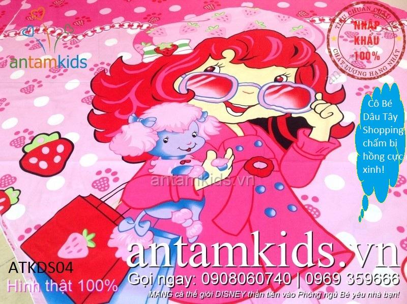 Chăn ga gối hình Công chúa Dâu tây  hồng xinh cho bé gái cotton cao cấp tuyệt đẹp
