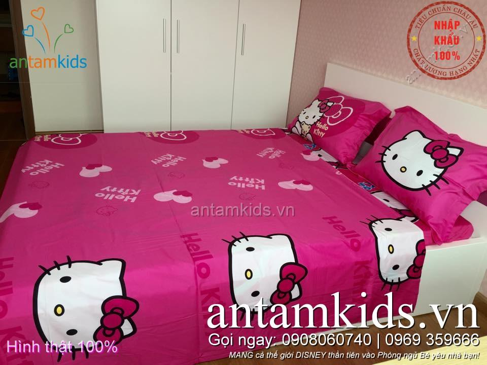 Bộ chăn ga gối drap trải giường hình Hello Kitty dễ thương cho em bé gái