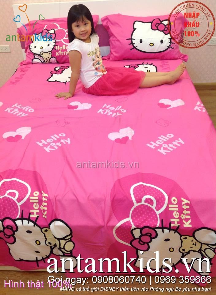 Bộ chăn ga gối hình Hello Kitty, drap trải giường Hello Kitty dễ thương cho bé gái