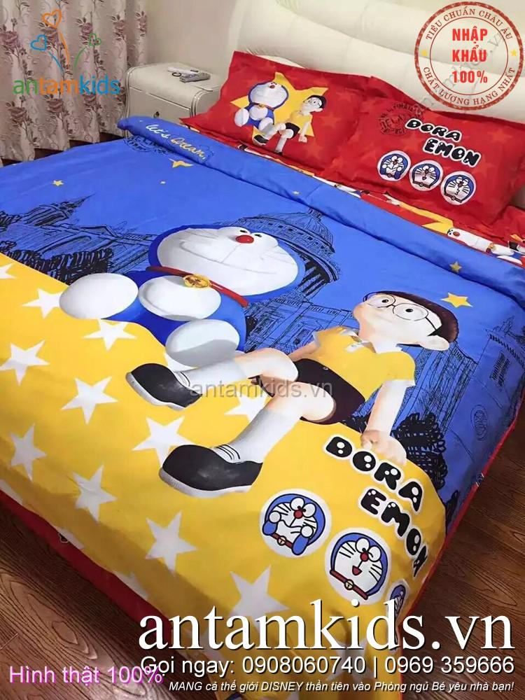 Chăn mền hình Doremon, Drap giường Doremon, Ra nệm Doremon cho bé yêu