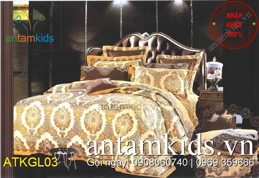 Chăn ga gối gấm lụa cao cấp Vàng Kem họa tiết sang trọng ATKGL03 antamkids