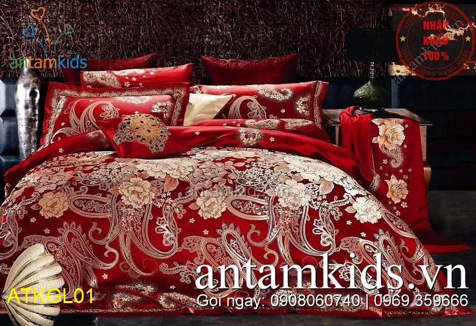Chăn ga gối gấm lụa cao cấp Đỏ Móc sang trọng ATKGL01 antamkids