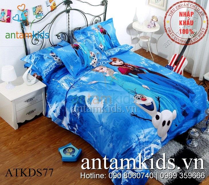 Chăn ga gối Frozen ATKDS77 Nữ hoàng Băng giá Anna Elsa sắc xanh quyến rũ