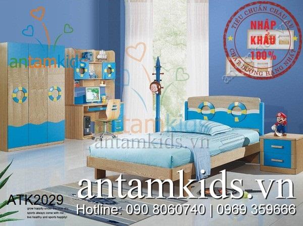 Bộ phòng ngủ cho bé Veneer màu xanh gỗ ATK2029 rất xinh
