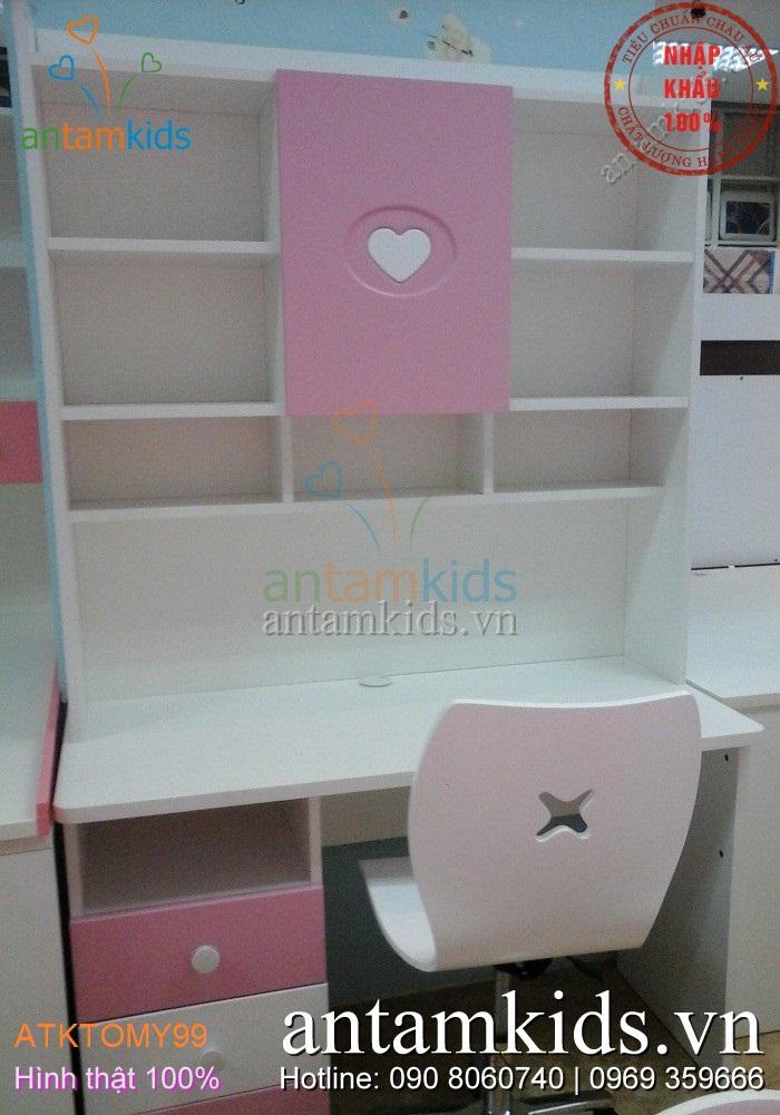 Bộ bàn học giá sách cho bé gái ATKTOMY99 trái tim hồng