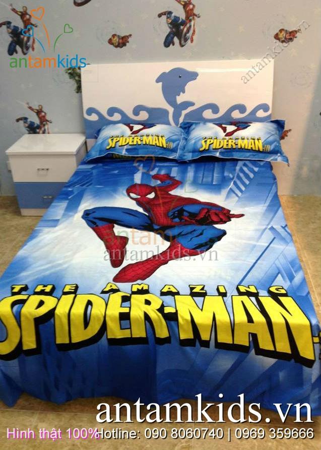 Chăn ga gối hình Spider Man người nhện cho bé trai - AnTamKids.vn