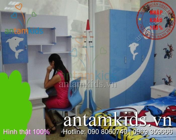 Bo phong ngu cho be trai mau xanh duong - AnTamKids.vn