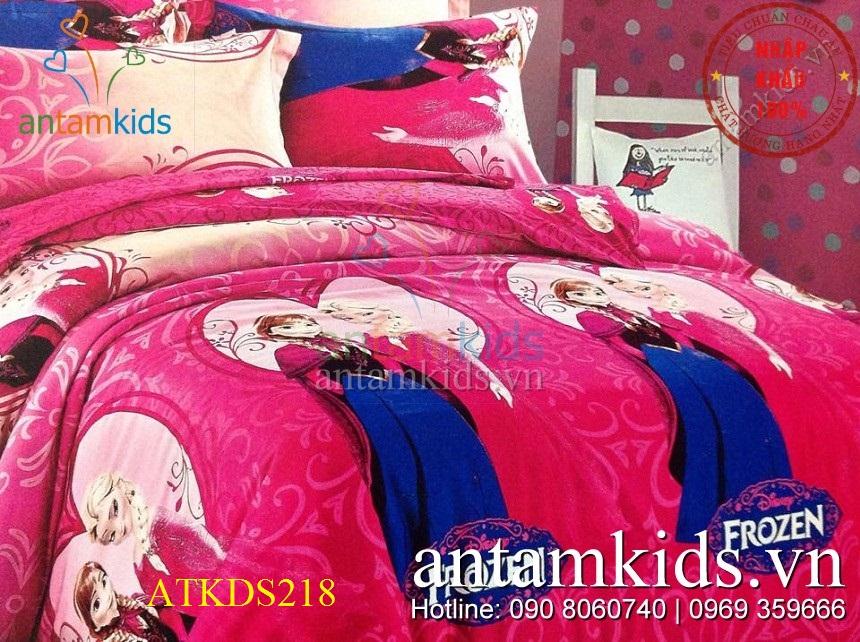 Chăn ga gối Disney Frozen Nữ hoàng Băng giá ATKDS218 sắc hồng mộng mơ