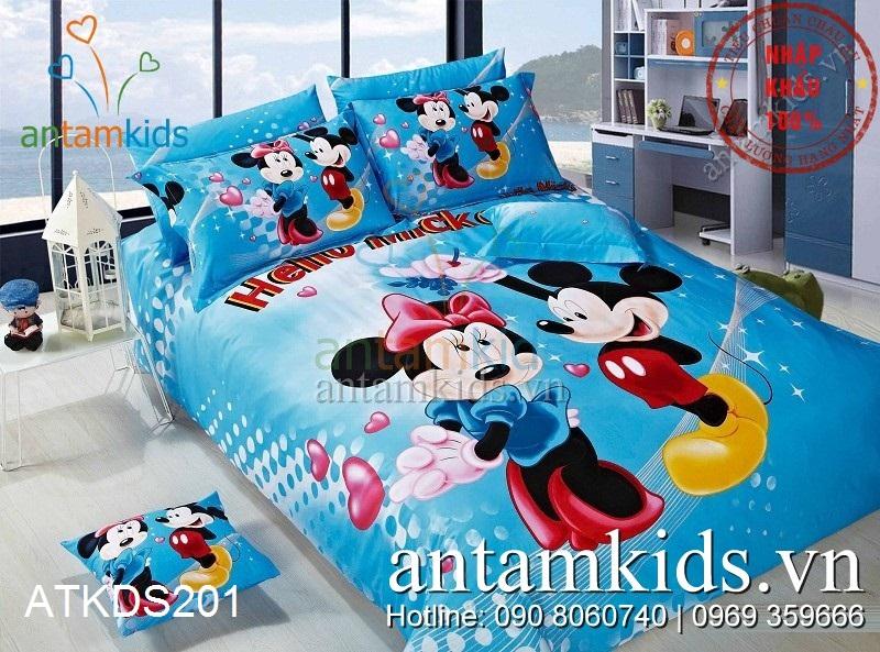 Chăn ga gối Mickey & Minnie dễ thương màu xanh dương cho bé yêu