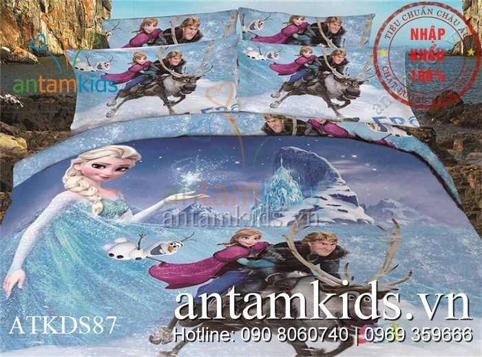 Chăn ga gối Frozen công chúa băng giá Anna Elsa ATKDS78
