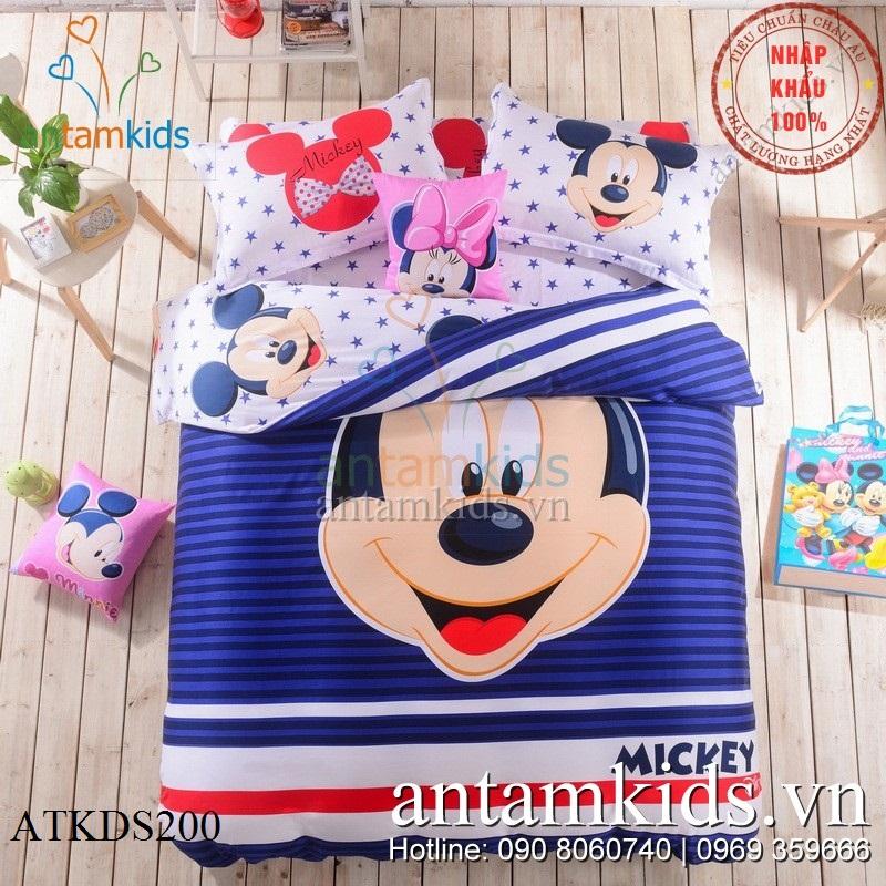 Chăn ga gối đệm Mickey sao xinh cực dễ thương cho trẻ em, em bé