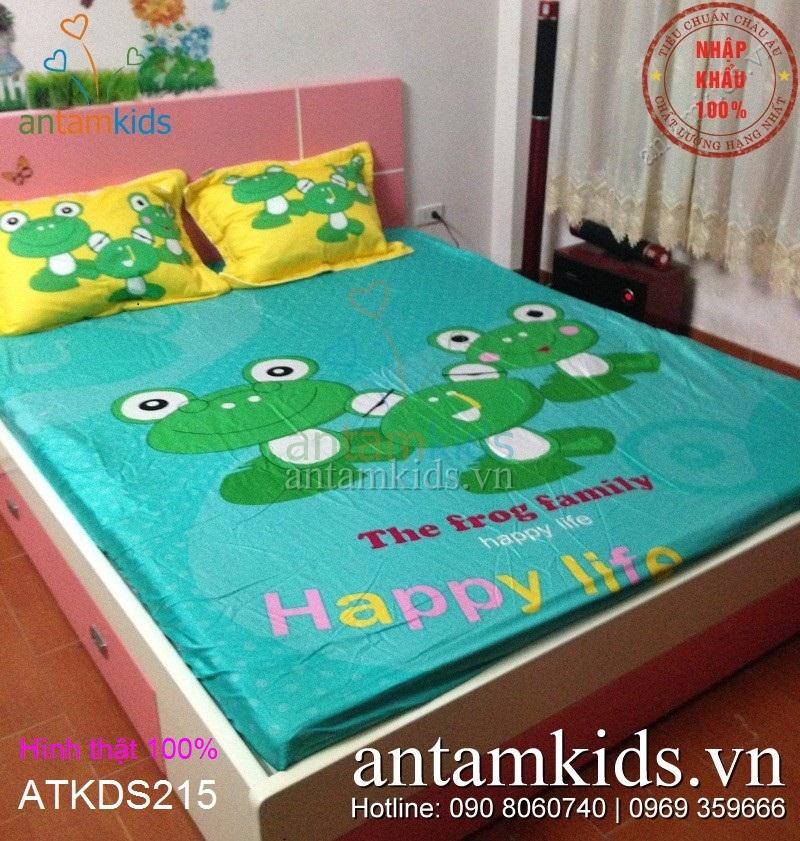 Chăn ga gối Ếch xanh ngộ nghĩnh đáng yêu cho bé trai bé gái ATKDS215