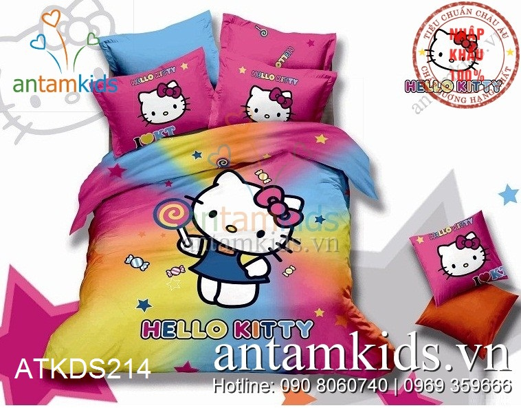Chăn ga gối Hello Kitty bảy sắc cầu vồng dễ thương cho bé gái