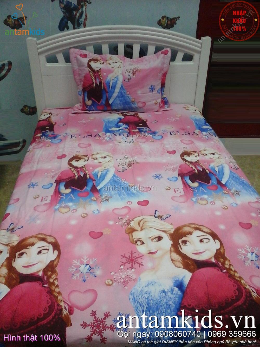 Chăn ga gối cho bé gái hình Nữ hoàng Băng giá Frozen Anna Elsa