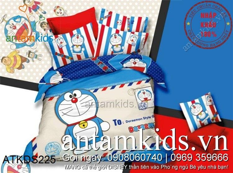 Chăn ga gối Doremon lá thư dễ thương màu xanh dương ATKDS225