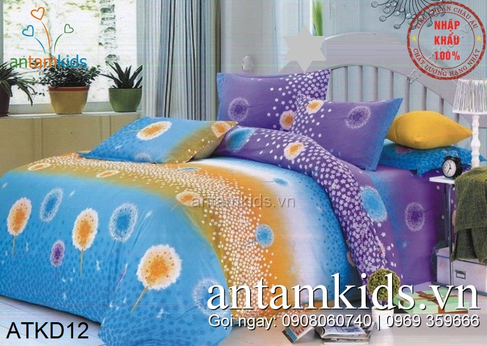 Chăn ga gối siêu đẹp ATKD12 pháo hoa lung linh sắc màu