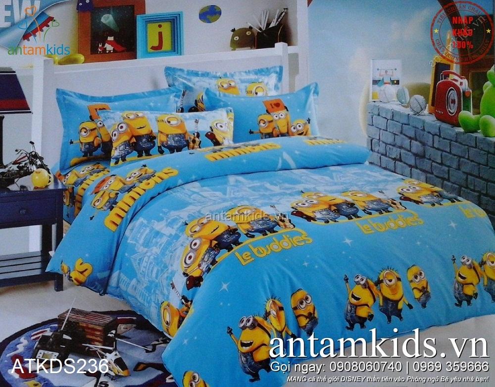 Chăn ga gối Minion ATKDS236 xanh thiên thần cho bé trai bé gái