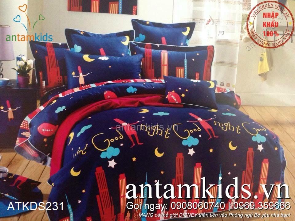 Chăn ga gối Chan ga goi Chúc bé ngủ ngon Good Night Thành phố Trăng Sao ATKDS231