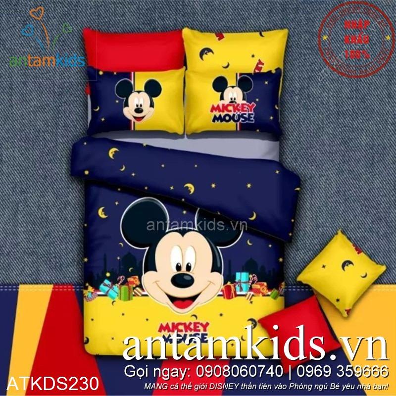 Chăn ga gối Mickey Mouse Trăng sao Xanh Vàng ATKDS230