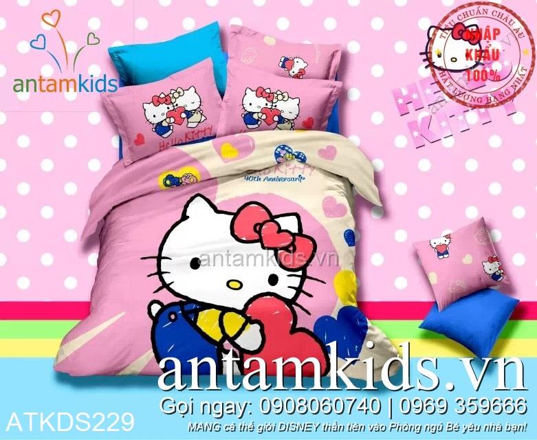 Chăn ga gối Hello Kitty hồng xinh cực ngộ nghĩnh dễ thương cho bé yêu