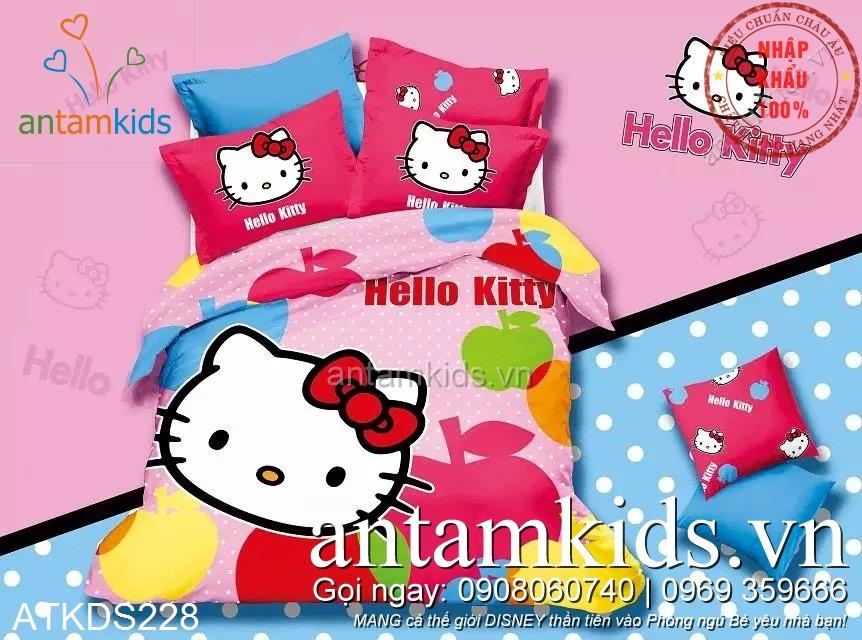 Chăn ga gối Hello Kitty Chấm bi Táo đa sắc màu cực đáng yêu - antamkidsvn
