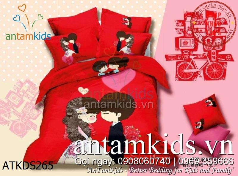 Chăn ga gối đệm hình cô dâu chú rể màu đỏ antamkidsvn
