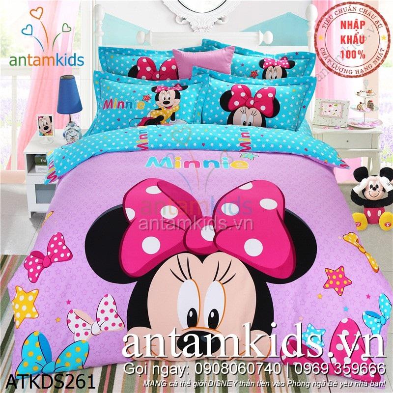 Bộ Drap mền gối chuột Minnie Mouse, chăn ga gối đệm Mickey hồng xinh cho bé gái