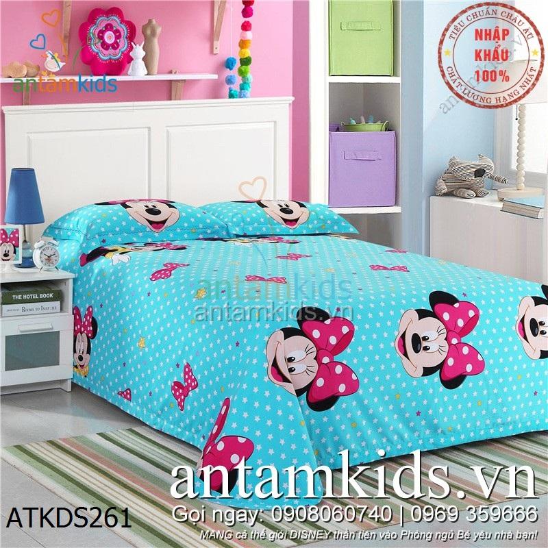 Bộ Drap mền gối chuột Minnie Mouse hồng xinh cho bé gái, ga trải giường xinh